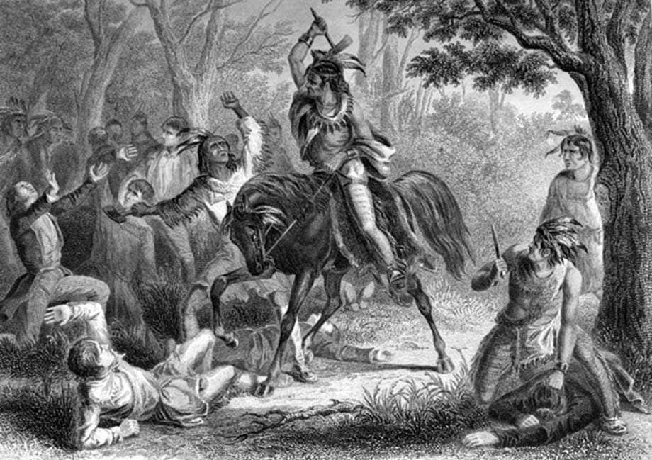 a black and white drawing of Tecumseh, a Shawnee warrior opposed to white invasion