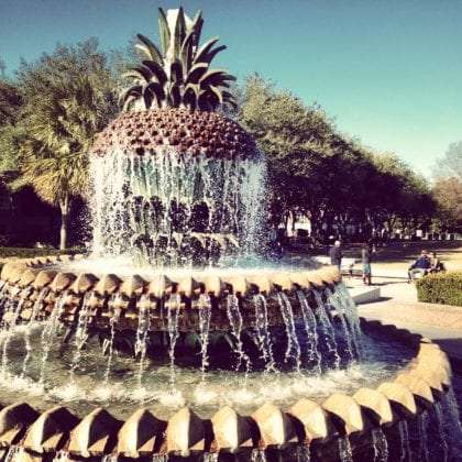 a pineapple shaped fountain