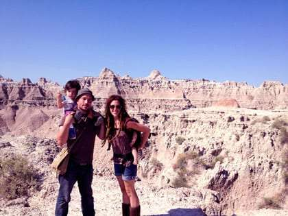 The Lady and I hiking with our 2 year old in Badlands National Park