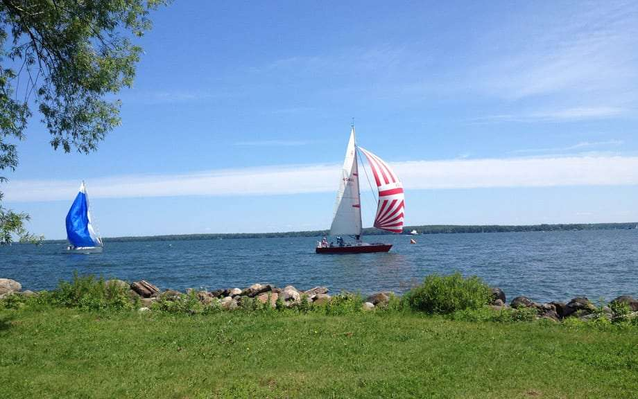 sailboats race through the apostle islands