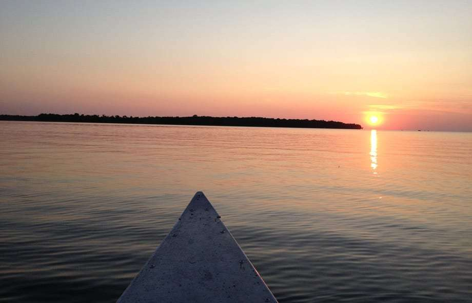 a canoe on mille lacs lake