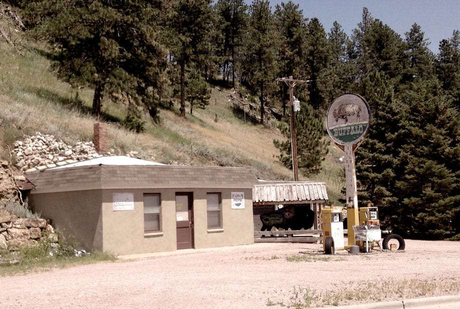 a defunct gas station