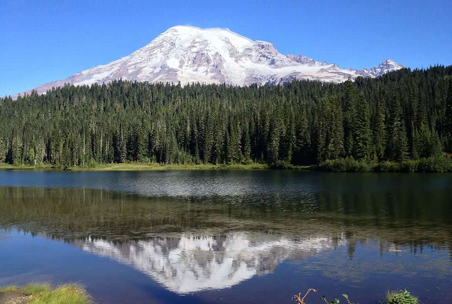 Mt. Rainier paralleled in the waters of Reflection Lake
