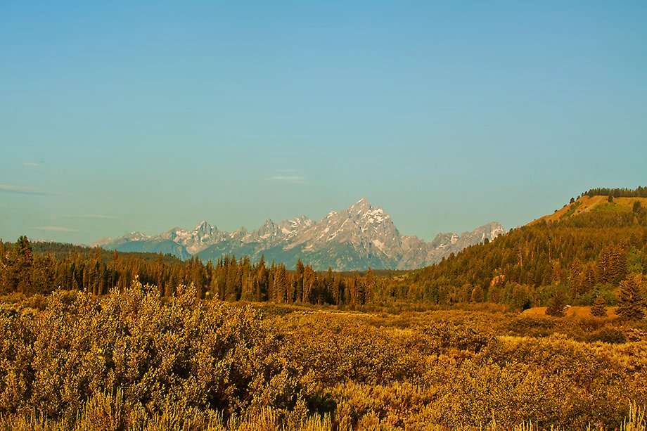 The Tetons as seen from Yellowstone