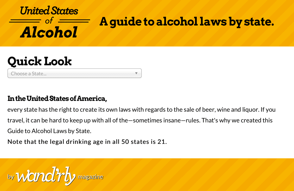 screenshot of the United States of Alcohol app on iPad