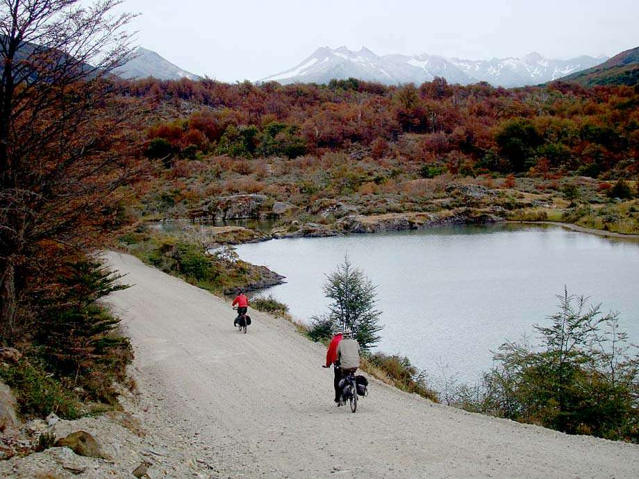 three cyclists in an auburn paradise