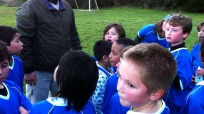 our traveling son Tristan mixed in a crowd of kids on a soccer team