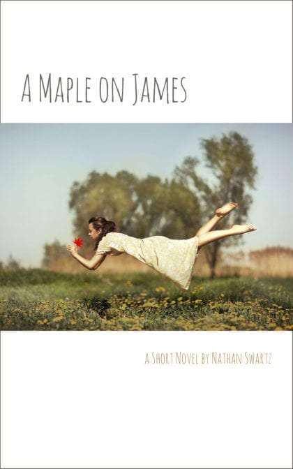 book cover: A Maple on James by Nathan Swartz, showing a young woman floating through her yard, holding a maple leaf
