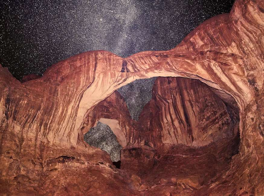 sandstone arches and a million stars at night