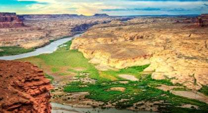 the lush and desert of an expansive Capitol Reef National Park