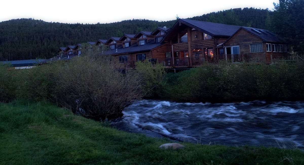 Boulder Creek rustles to divide The Lodge at Nederland from First Street.