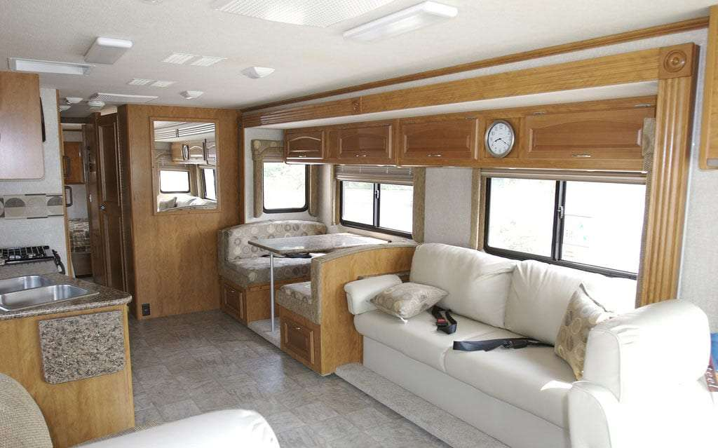 large living space inside of a class a RV