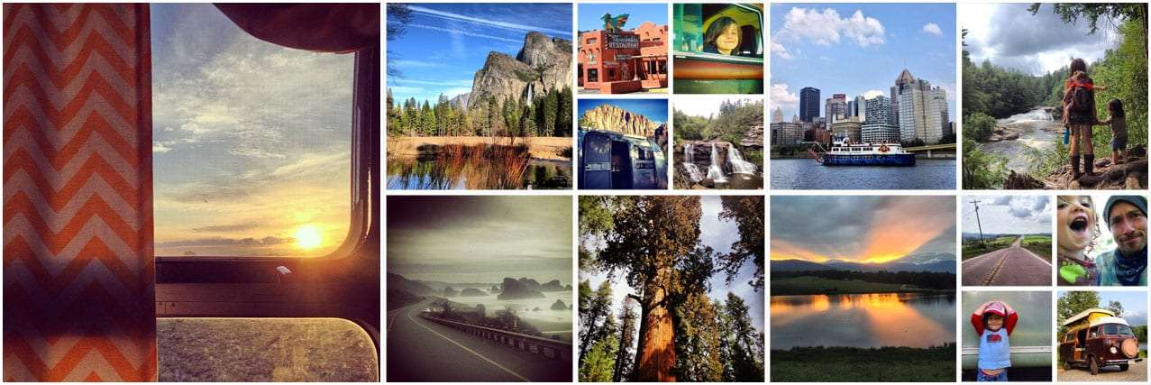 a collage of photos featuring scenic views across the United States, a traveling family, an Airstream, and a VW Bus
