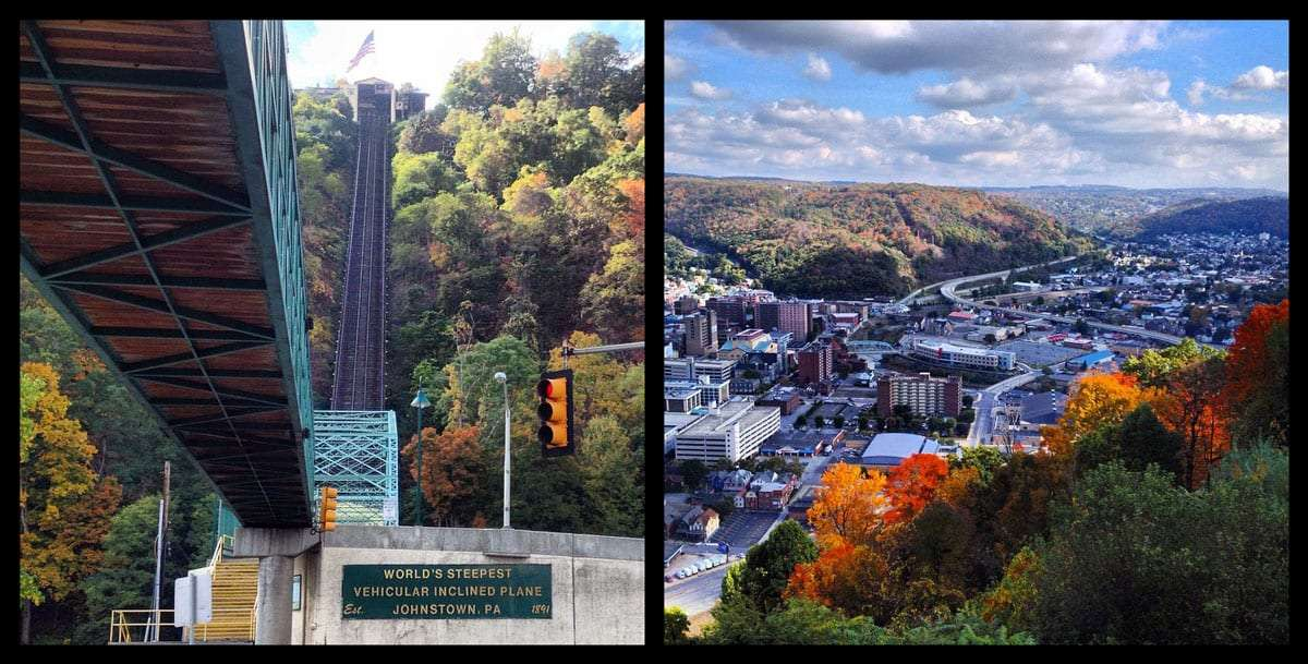 two images: left, a bridge crosses a street, a river, to a steep uphill set of tracks, home of the inclined plane; right, autumn's brilliance pours over the hillsides that line Johnstown, Pennsyvlania