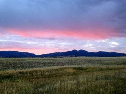 purple clouds over a wide open green field