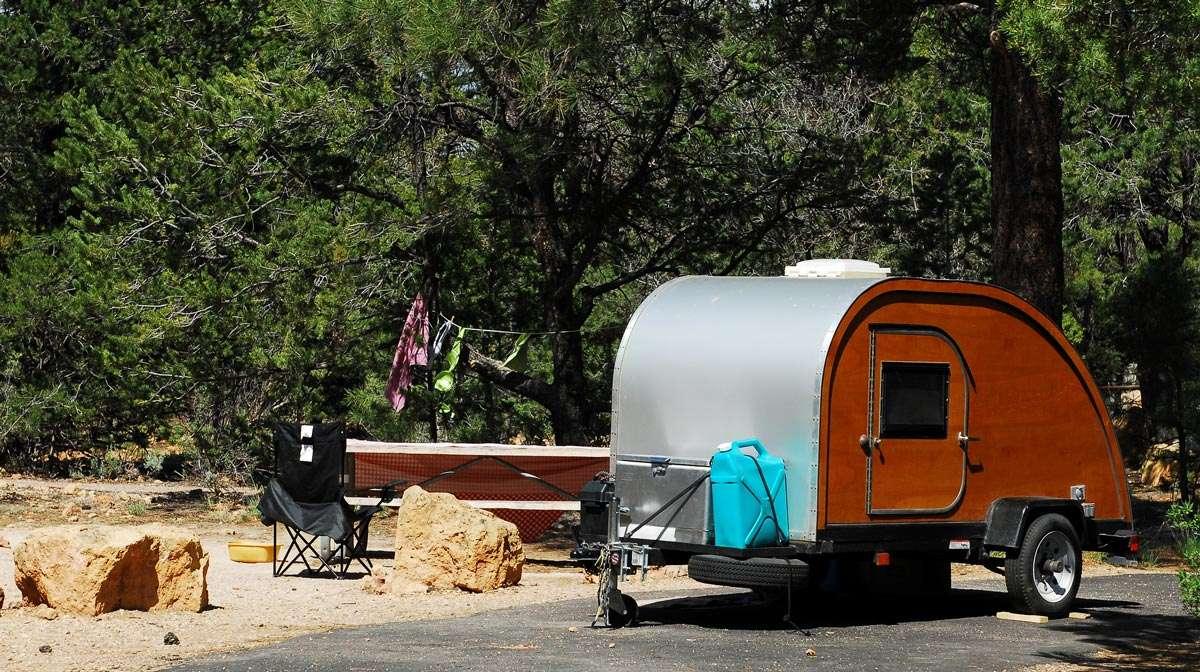 small tear shaped trailer