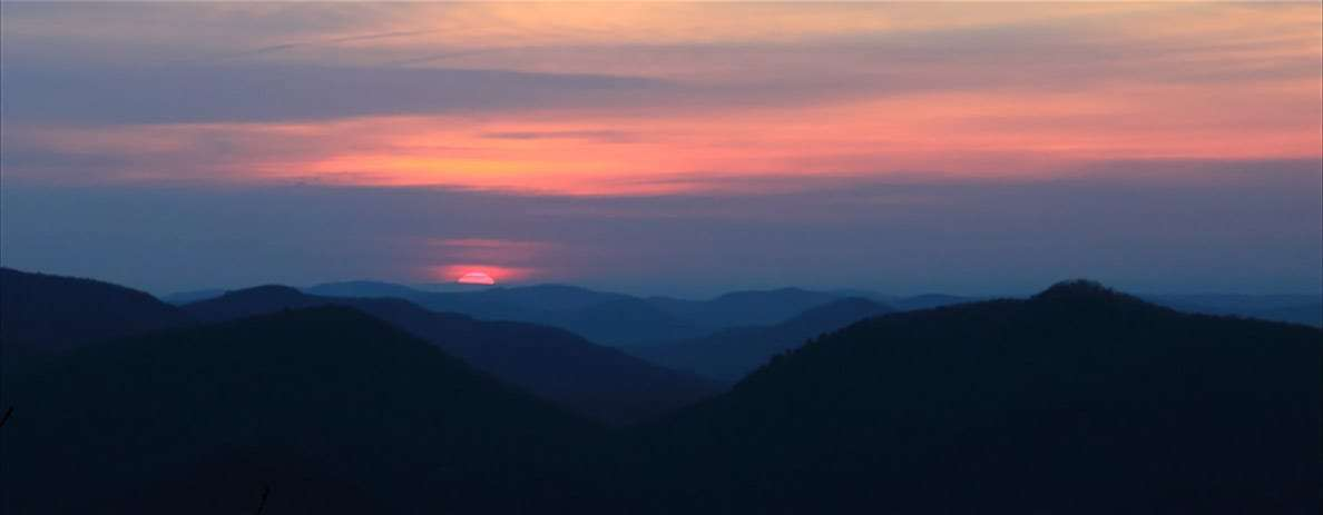 the sun rises over northern Georgia