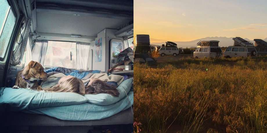 Left: Amanda, Corey and their dog sleeping in the vanagon, Right: a bunch of VW Buses parked in a circle in a field