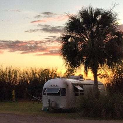 An airstream travel trailer parked beneath a palm tree, the sun setting over swamplands behind