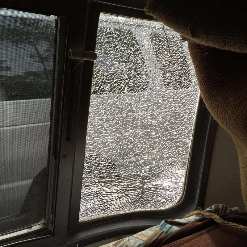 a broken front curved window on an Airstream