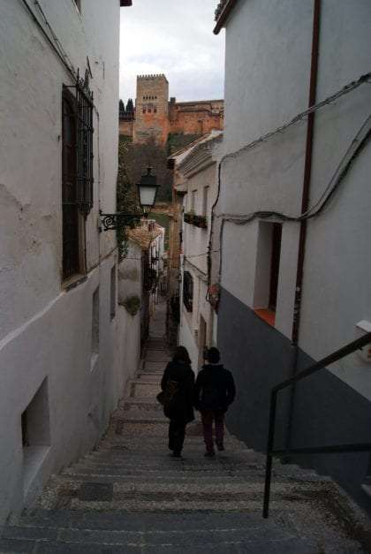 Alhambra through Granada streets