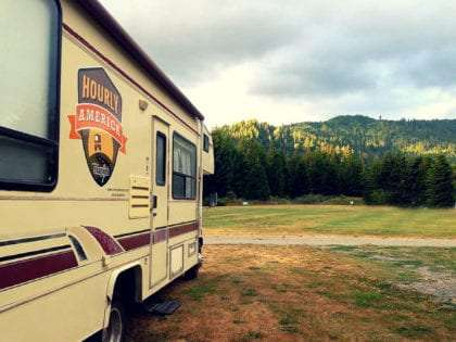 a 1998 Dutchman RV in the redwoods of northern california