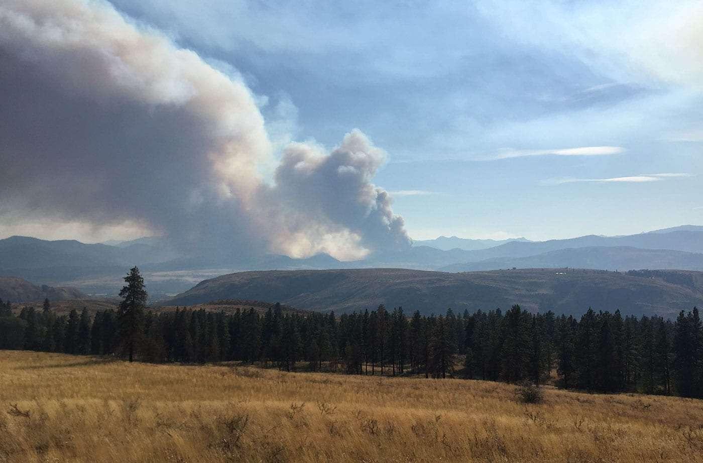 fire rising just over the horizon, near Twisp, Washington