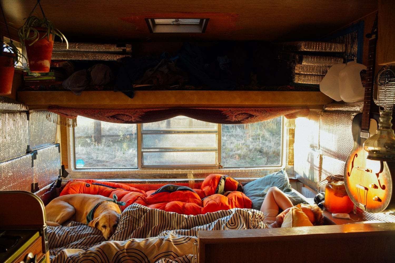 cozy blankets inside of a small travel trailer, a man and dog sleeping in the bed