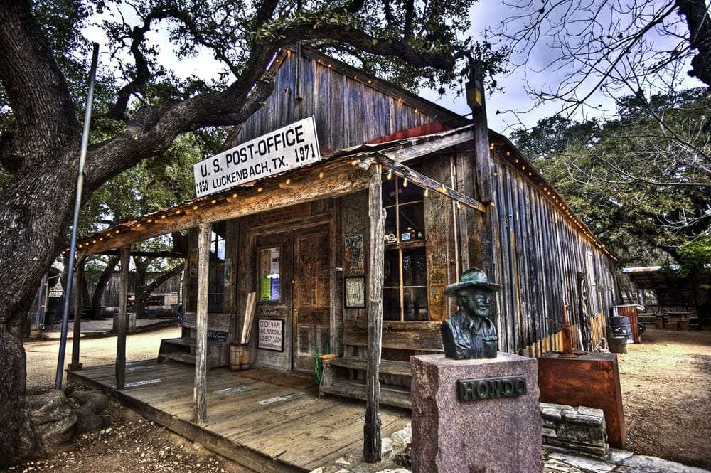 an old building, small, currently serving as the luckenbach post office