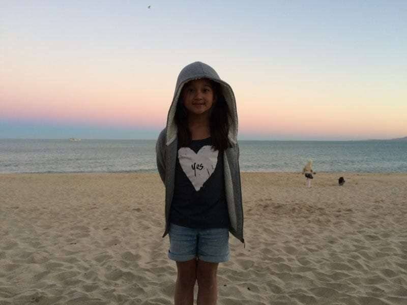 a young girl on the beach in San Felipe, Mexico