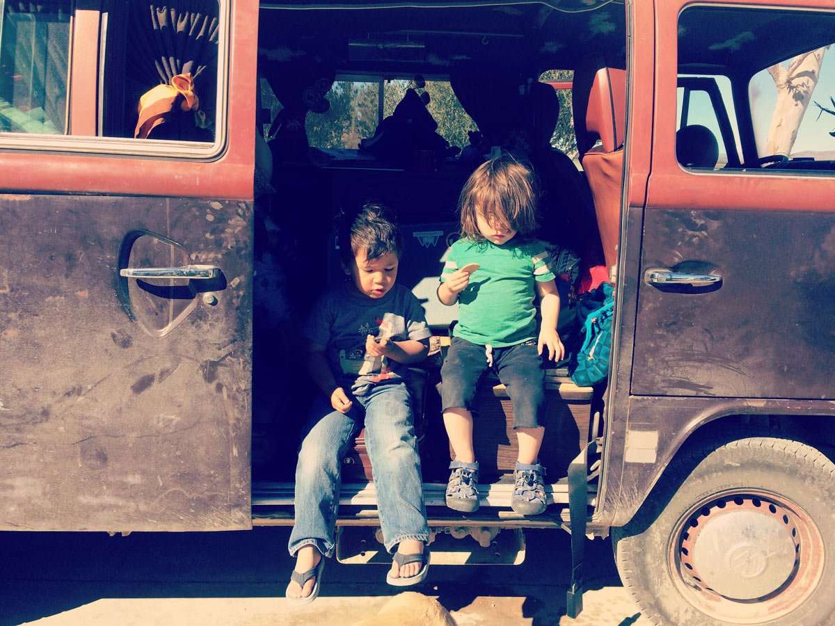 Scenes from a VW Bus: Sometimes you invite friends over to play.