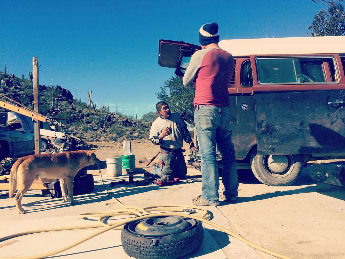 Scenes from a VW Bus: Breakdowns are simply a part of life. Sometimes I can handle them...and sometimes you find a tire salesman along Mexico 1 who happens to be willing to give you a tune up.
