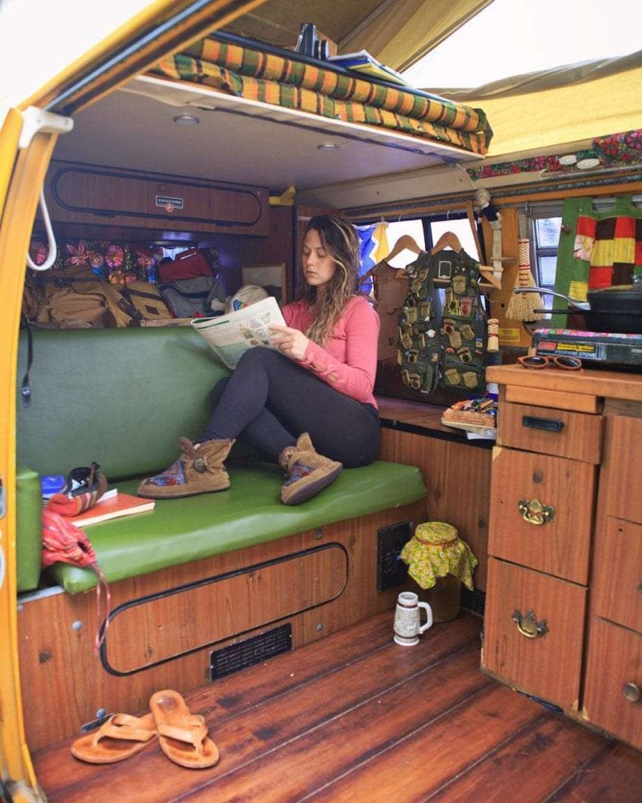 Rachel inside of their VW Bus