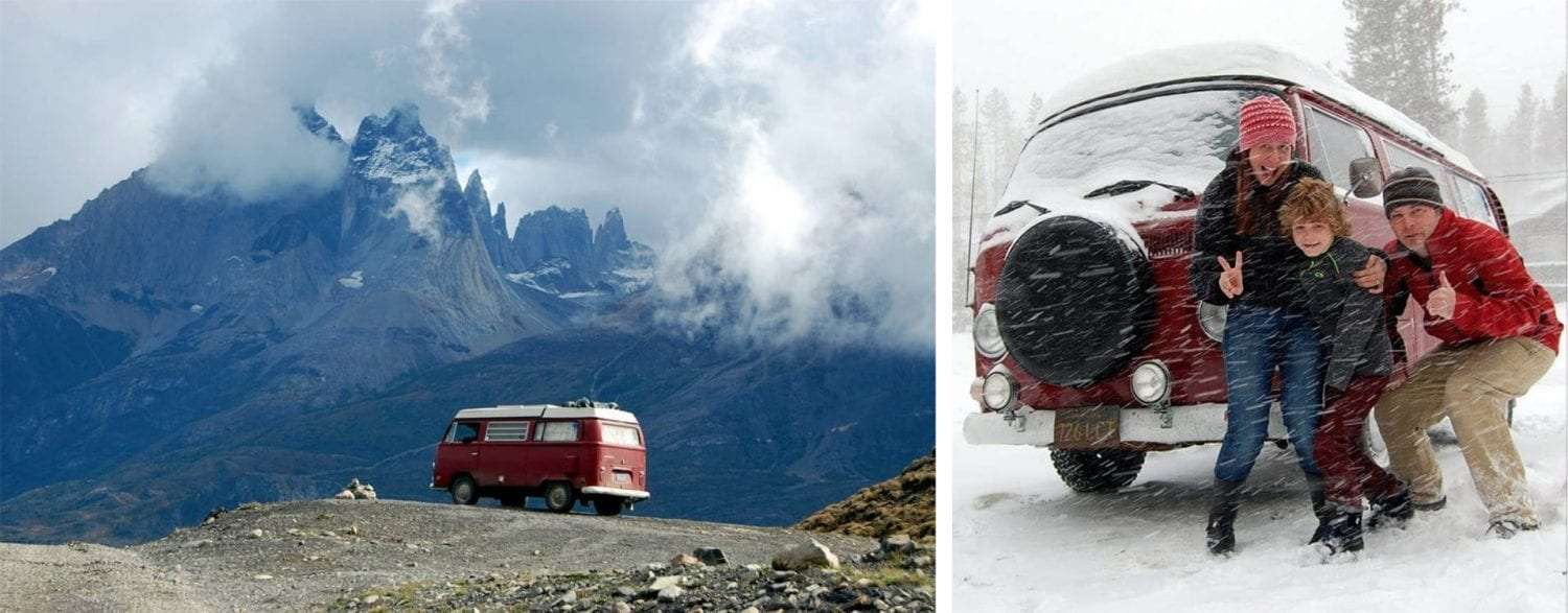 two photos, the first of a red Volkswagen Bus driving through the mountains of Patagonia, the second of the entire family in front of their bus in a snow storm