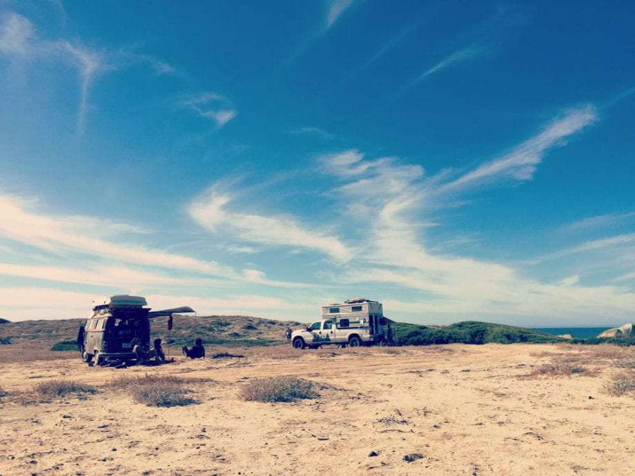 Beach camping in El Conejo on the Pacific Coast of Baja California Sur.