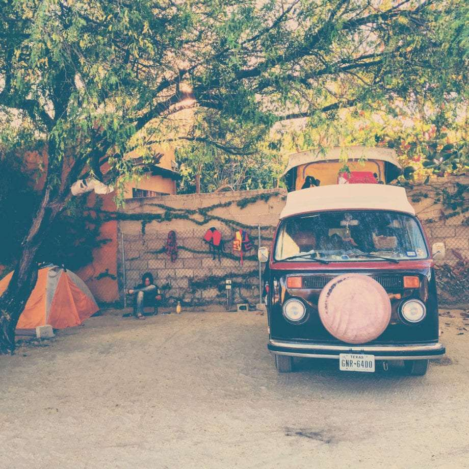 a VW bus in an RV park