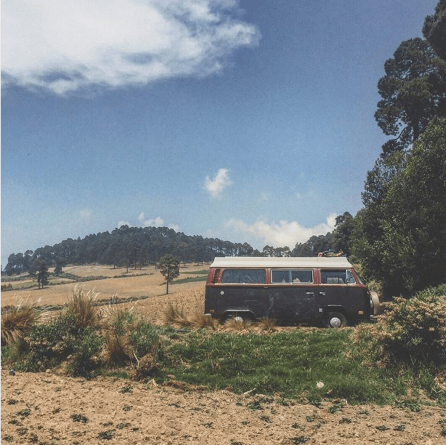 a volkswagen bus in the farmlands of central mexico