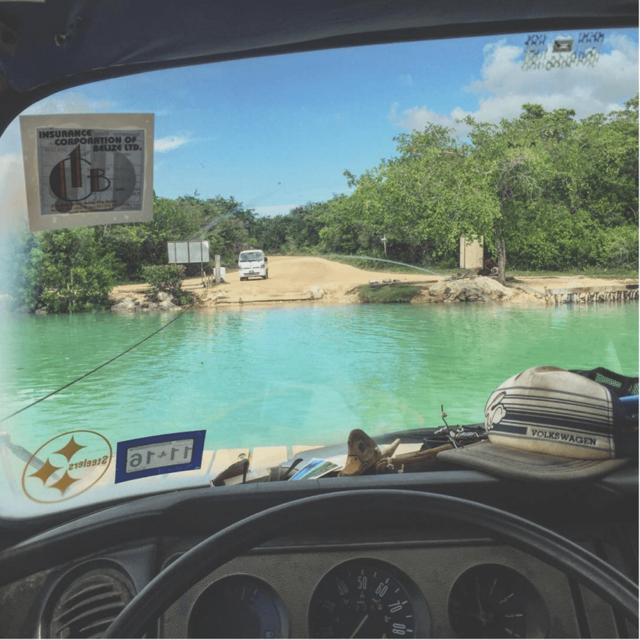 blue water as seen from a vw bus in belize