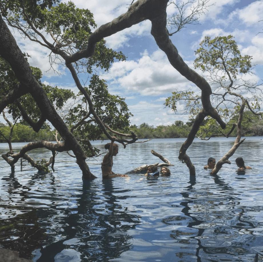 a family swims in a cenote near Bacalar, MX