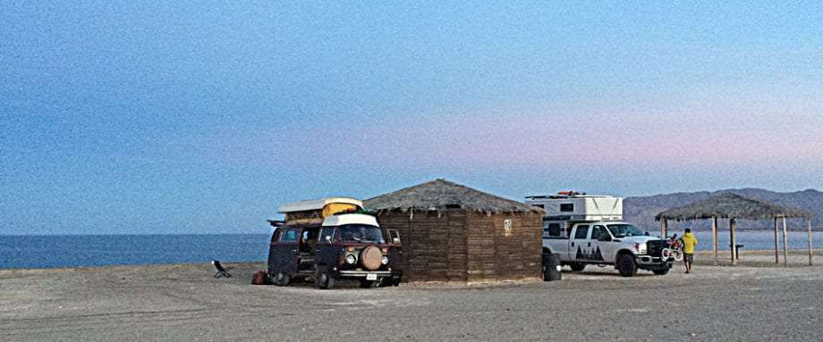 a truck camper and a VW Bus in Gonzaga Bay, Baja California Norte