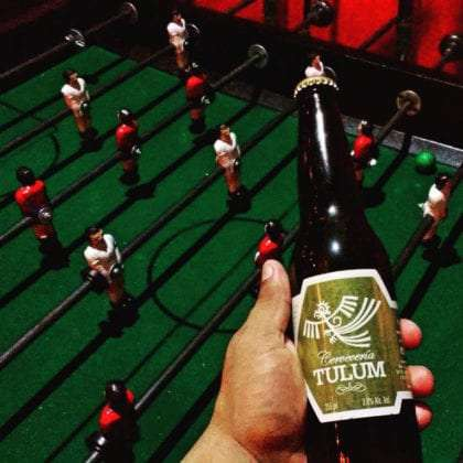 tulum beer and foozball table