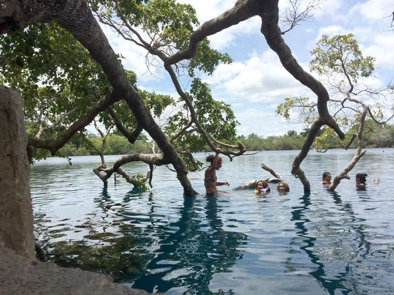 swimming in Blue Hole, Cenote Azul in Bacalar Quintana Roo Mexico