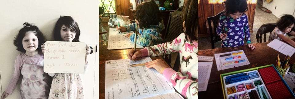 two young girls, homeschooled