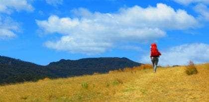 megan climbing a mountain