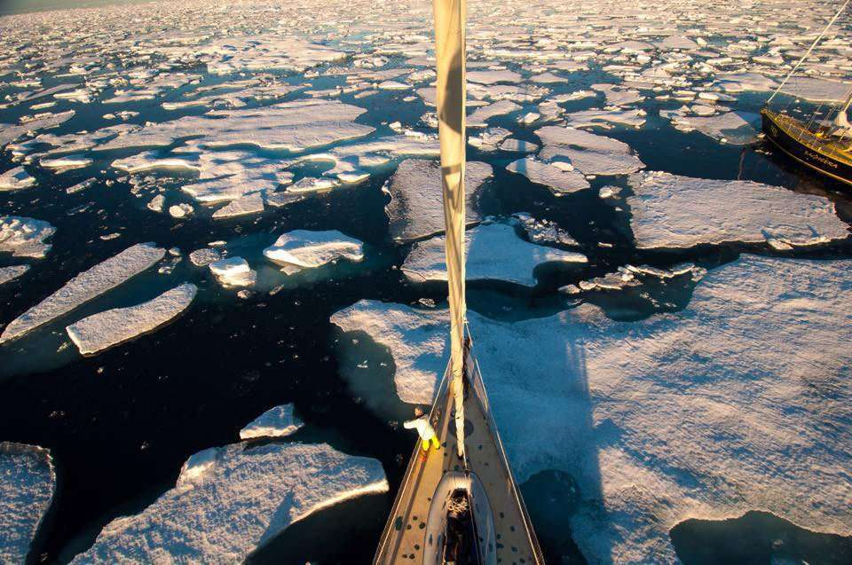 A boat makes it's way through the northwest passage