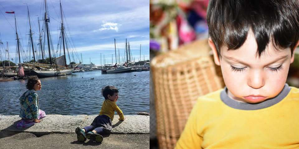 two photos, one of two young children near a dock, the other of a young boy in a yellow shirt