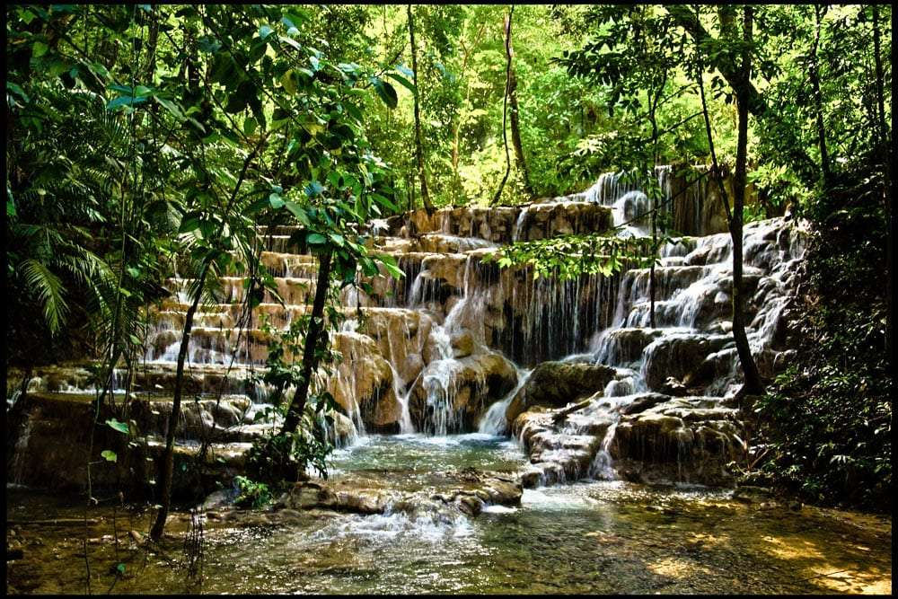 cascading waterfalls in the jungle