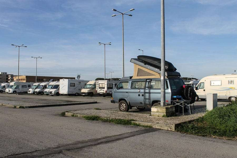 an parking lot for travelers in Europe