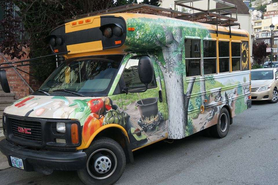 a school bus painted
