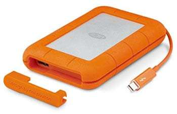 an orange, bulky, durable external hard drive